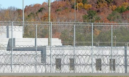 The fence around the federal prison in Butner, North Carolina where convicted Israel spy Jonathan Pollard was released from is seen on November 20, 2015 in Butner, North Carolina. Pollard, 61, spent 30 years in prison after being caught selling American intelligence secrets to Israel. The prison camp houses three levels of security on the multi-building Federal Correctional Institute campus. (Photo by Sara D. Davis/Getty Images)