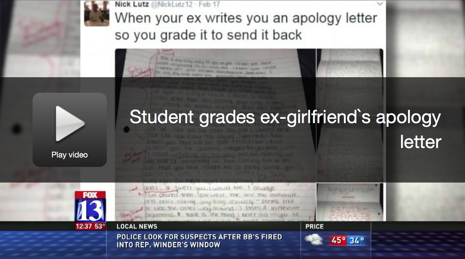 Guy Grades The Apology Letter His Exgirlfriend Sent Him [watch] €� Daily  Headlines How