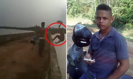 Pic shows: Man falls off the edge of the bridge; By Martina Salas A teenager died after being apparently pushed from a bridge over a river in Brazil. The incident took place on a bridge over the river Jamari, in the rural area known as Itapua do Oeste, in the municipality of Itapua do Oeste, in the western Brazilian state of Rondonia. Daniel Faustino Pinto Filho, 18, was playing with some friends balancing on the edge of the bridge. A video shows three lads balancing on the side of the bridge. Two jump off onto the ground, leaving Daniel standing on the ledge. A member of the group, said to be a 21-year-old woman but not named in reports, is seen reaching towards Daniel and appears to make contact with his knee. He flails and then topples off the bridge backwards. A girl shrieks and then the camera is dropped. Danielís body was found 14 hours later by firefighters. According to some witnesses, the teen did not know how to swim and was drunk when he was balancing on the bridge rail. Sued Rocha, the commander of the rescue operation, said that the body was found in the deep part of the river, some metres away from where the boy fell. He also said that the body is being studied by a forensics team who will determine the cause of death, although it is believed that he drowned. The unnamed woman who seemed in the video to have pushed him and other witnesses were taken to a police station in order to be interviewed by authorities. She said that Daniel had been joking about jumping from the bridge and then she decided to make a joke pretending to push him, but he flinched from her mock-push and fell. On the other hand, the person who recorded the video told police that the woman who pushed him knew that he was not able to swim and gave the film to police. Rocha also said that two of the boyís friends had jumped from the bridge in a failed attempt to rescue the young man. Witnesses and the woman who is alleged to have pushed Daniel were released after the police interview. It is not clear whether any charges were brought. The investigation is ongoing.