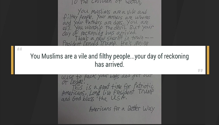 """Anti-Muslim Letter Sent to Mosques: """"Children of Satan"""", Trump Will Do to Muslims """"What Hitler Did to Jews"""""""