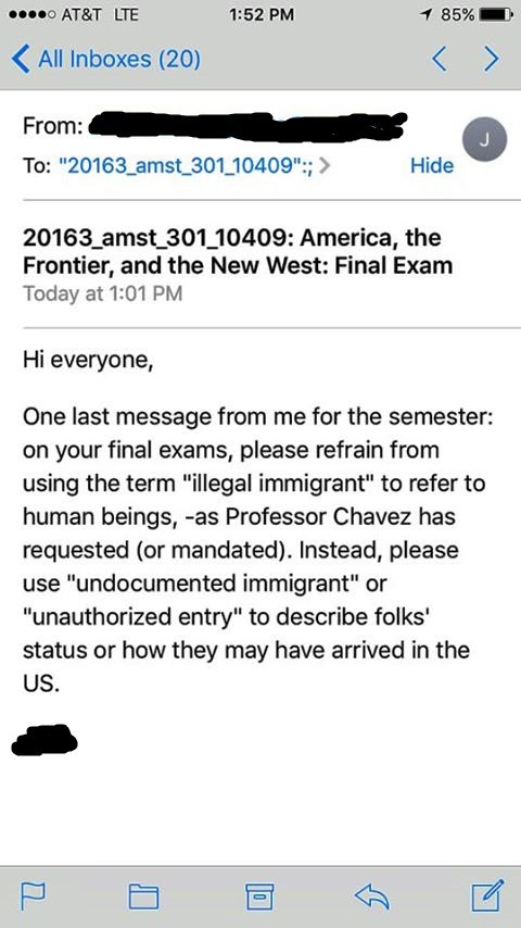 A message from a USC TA warning students not to use 'illegal immigrant' in their paper.