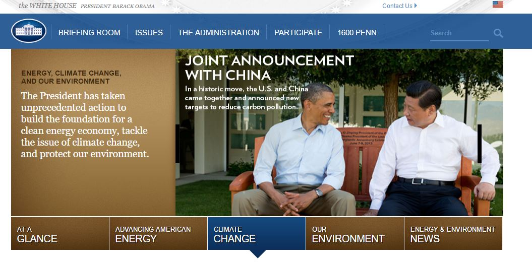 Screenshot of the old Obama's White House website on global warming