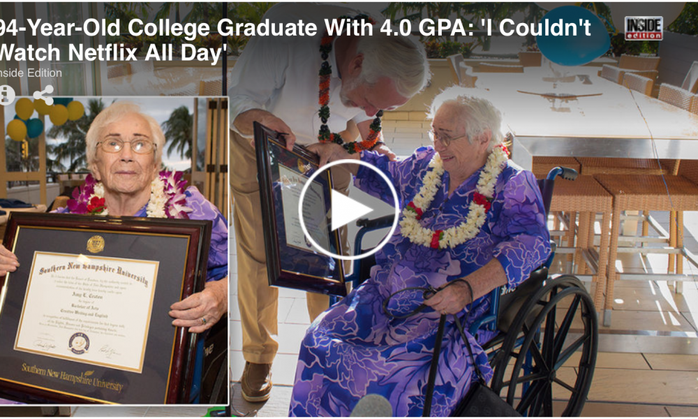 94-year-old with 4.0 GPA gets surprise graduation ceremony 'I Couldn't Watch Netflix All Day'