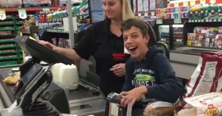 Cashier Brightens His Day, When She Allows Boy With Cerebral Palsy To Check Out Groceries [WATCH]