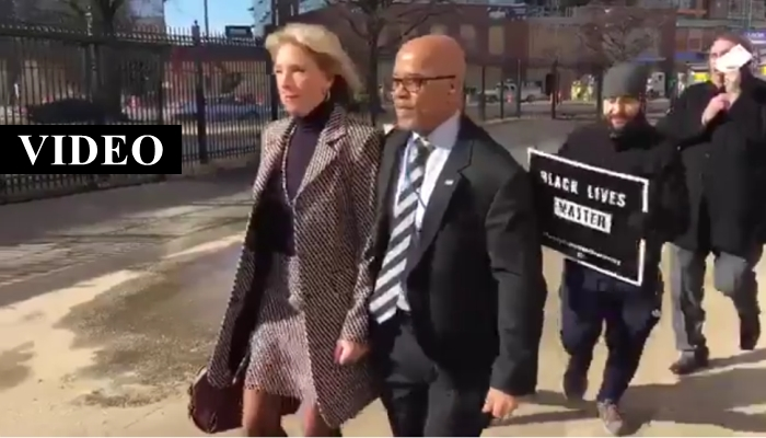 Black Lives Matter Protesters Block Betsy DeVos From Entering DC Public School [VIDEO]