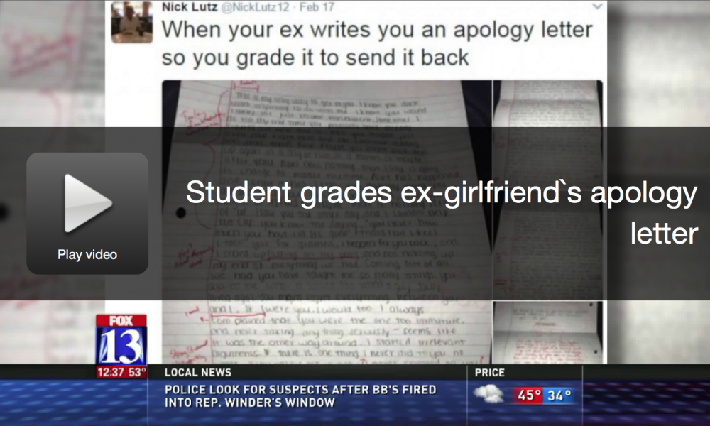 Guy Grades The Apology Letter His Ex-Girlfriend Sent Him [WATCH]