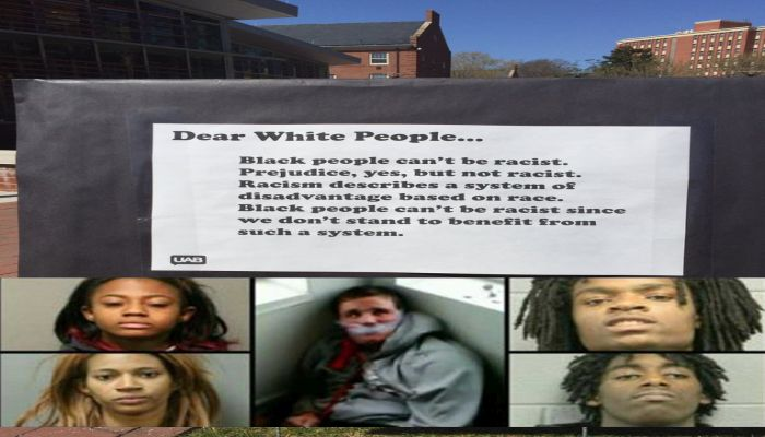 "College Sign: Blacks ""CAN'T BE RACIST"", Nevermind The Lynching Of A White Guy In Chicago"