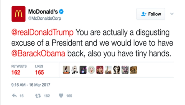 "McDonald's Corporation Calls President Trump ""Disgusting Excuse Of A President"", Wants Obama Back"