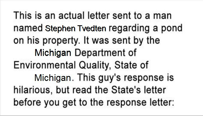 Read The Hilarious Response From This Guy To His State Environmental Agency