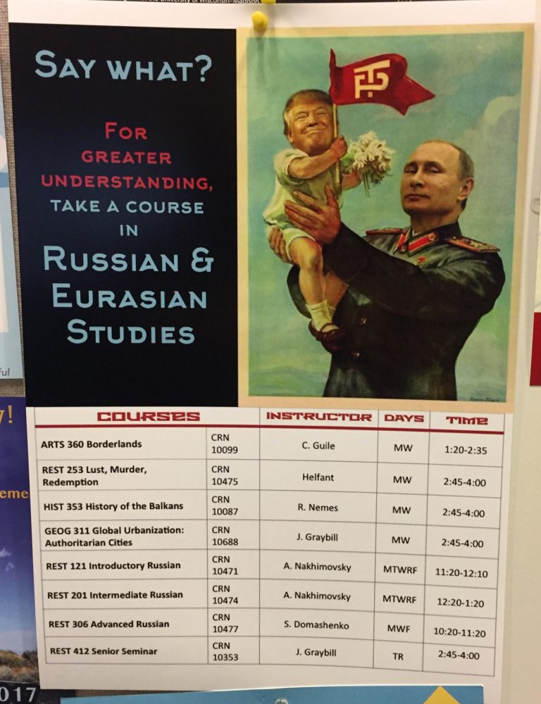 Poster displaying courses offered by the Russian and Eurasian Studies program at Colgate University (Photo obtained by TheDCNF via anonymous Colgate University student)