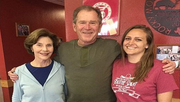 Waitress' Photo Of Herself With George W. Bush Quickly Sparks Outrage; Look Closer