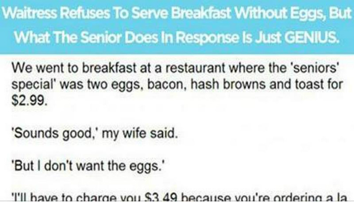When A Waitress Refused To Serve Breakfast The Way She Wanted, This Senior Had The Best Response