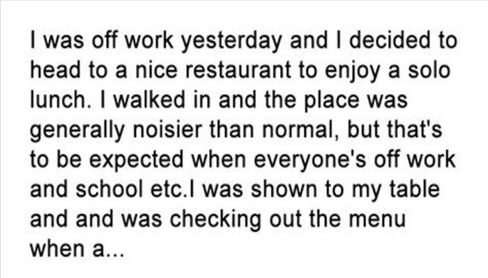 She Was Stunned When She Heard A Child Say This While At A Restaurant