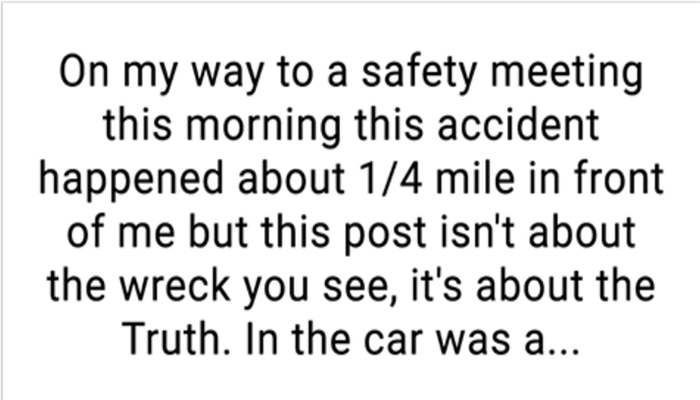 Man's Facebook Post Goes Viral After Witnessing This At The Scene Of A Crash