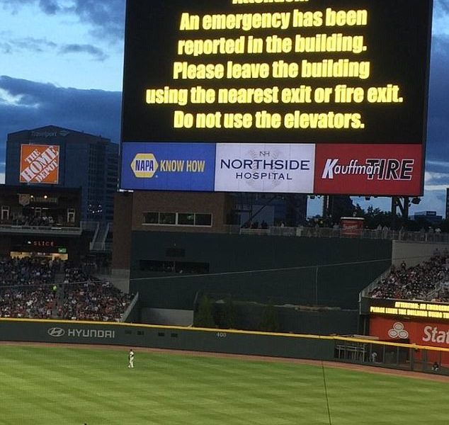 One Day After Manchester Atlanta Braves Scoreboard Tells People to Evacuate the Stadium