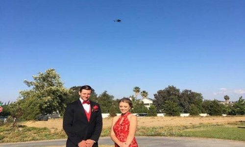 Police helicopter photographed the entire prom escort - Riverdale Police Department - photo credit