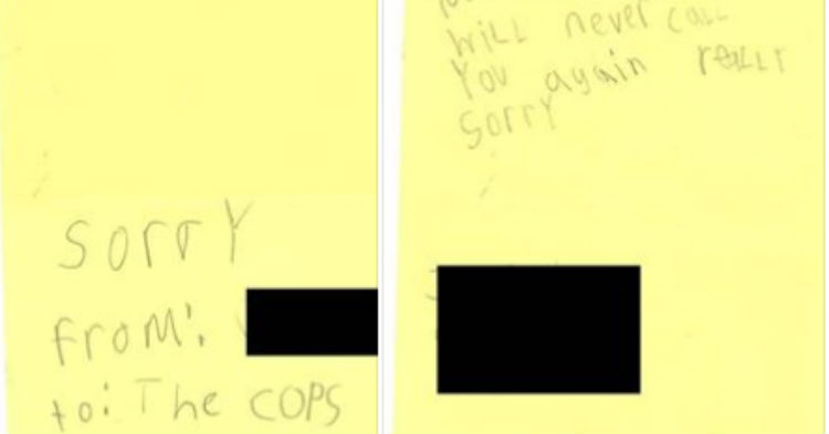 Little Boy Accidentally Dialed 911, Writes a Letter To the Cops – Goes Viral