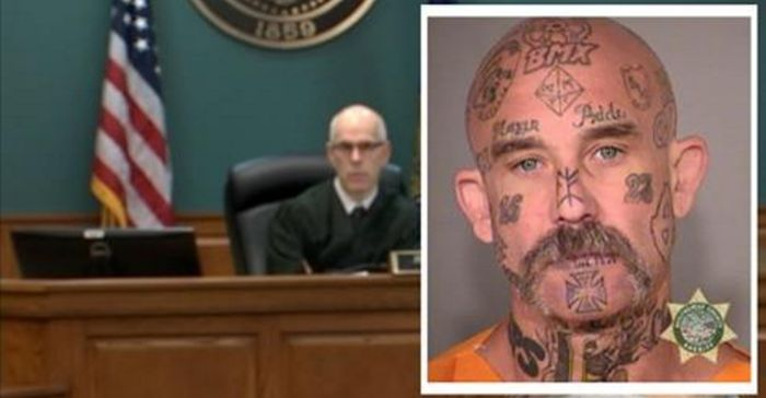Tattooed Thug Who Shot At Police Officer Says 3 Words, Judge Wipes Smirk Off His Face