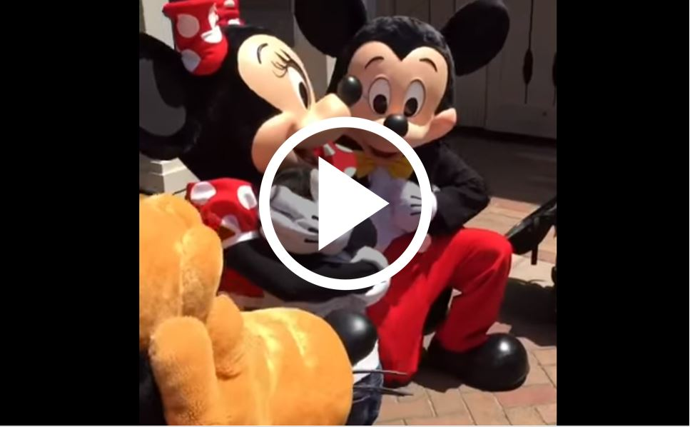 Mom Films Son With Mickey And Minnie, Then They Catch A Look At What Minnie's Hands Are Doing [WATCH]