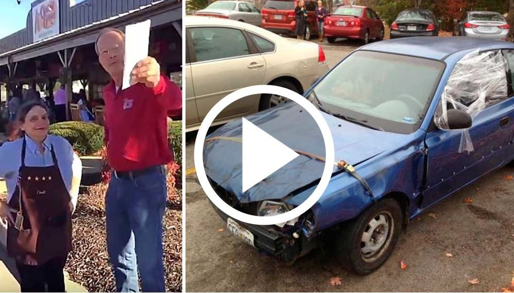 Customer Has Waitress Meet Him In Parking Lot, But Then He Points To Pile Of Junk Blue Car [WATCH]