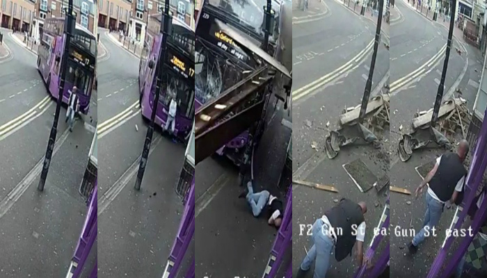 Guy Get Slammed By Double-Decker Bus And Immediately After Decides He Really Needs A Drink [VIDEO]