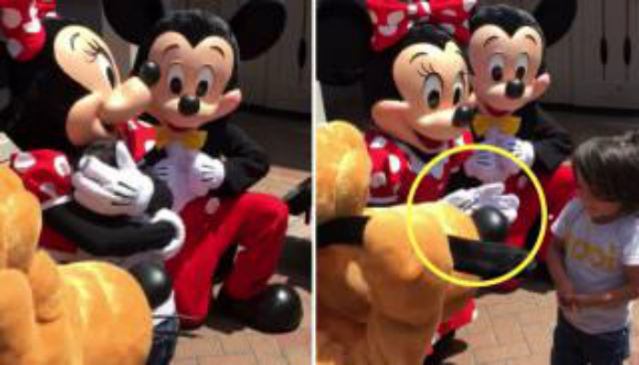 Mom Films Son With Mickey and Minnie. Then They See What Minnie's Hands Are Doing