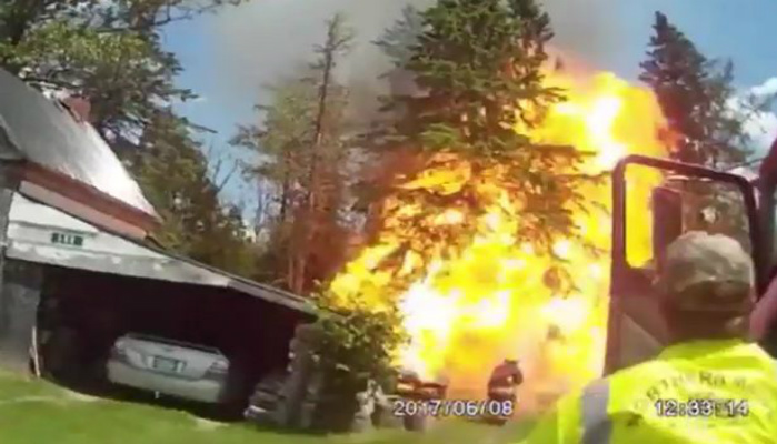 Hero Firefighters And Police Thrown By Huge Explosion Captured On Bodycam [RAW VIDEO]