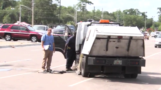 Man Dies In Freak Accident While Running A Street Sweeper Machine [VIDEO]