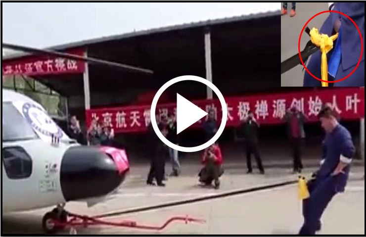 Kung Fu Master Hauls A Huge HELICOPTER Using Only His Manhood [VIDEO]