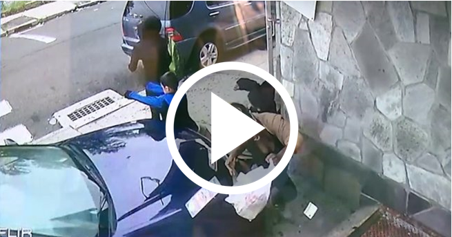 Heroic Moment Of A Woman Saving A Schoolboy's Life By Jumping In The Way Of Moving Car [VIDEO]
