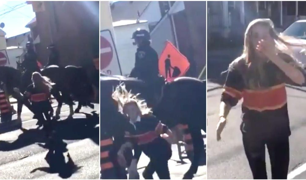 Woman Decides To Slap Police Horse But Quickly Learned That Was a Mistake [VIDEO]