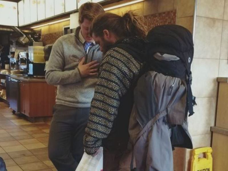 Photo Goes Viral After People Realize What Chick-Fil-A Manager Is Doing With Homeless Man