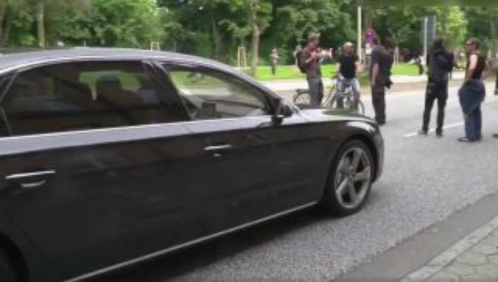 German Protesters Block Diplomatic Car:  Bad Mistake [VIDEO]