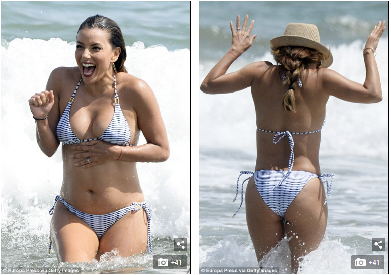 A Day at the Beach With Eva Longoria in a Teeny Bikini [PHOTOS]