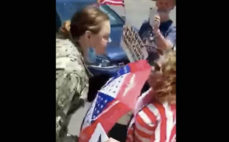 """DISGUSTING! Navy Aviation Boatswain's Mate 2nd Class Sarah Dudrey Busts into Pro-Trump Rally Screaming """"F*ck Trump!"""""""