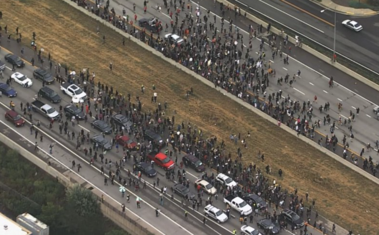 Car Drives Through Mob of Protesters on  Highway, Then Protester Opens Fire Trying to Shoot Driver (VIDEO)