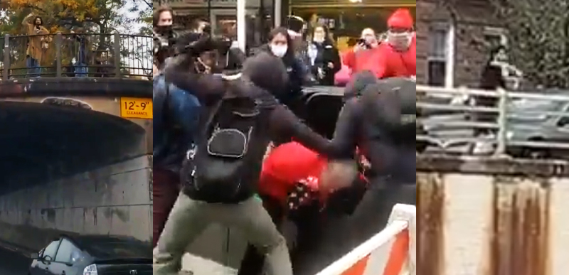 Deranged Libs throw ROCKS and EGGS at JEWS for Trump in NYC! [VIDEO]